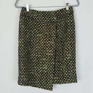 Carlisle women 2 tweed wool blend skirt faux warp